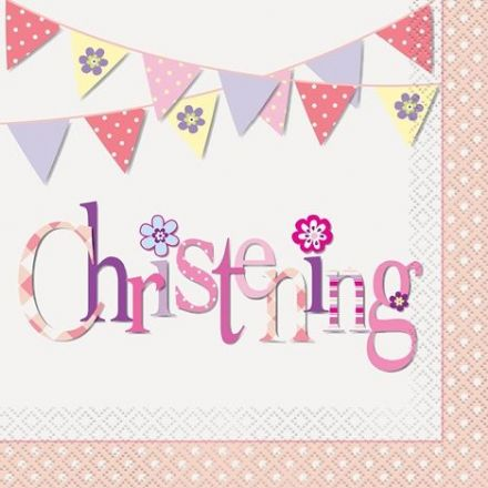 16 Pink Christening Luncheon Napkins